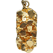 Estate Yellow Gold Nugget Pendant 14k Gold