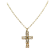 Estate 14k Yellow Gold Freeform Natural Cross Pendant Necklace