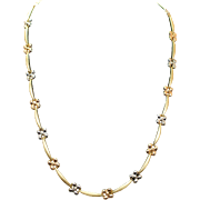 Estate 14k Yellow Gold Flower Necklace with Rose & White Gold