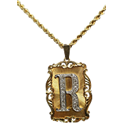 "Estate Yellow Gold & Diamond ""R"" Pendant Necklace"