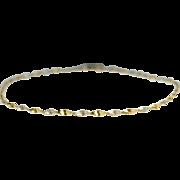Estate Vintage Yellow White Gold Ribbon Twirl Bracelet Chain