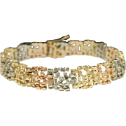 Estate Multi Colored Gold Link Bracelet Yellow Gold White Gold Rose Gold