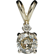 Vintage .72ct Mine Cut Diamond Pendant