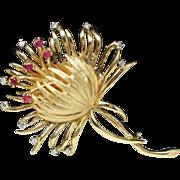 Vintage Yellow Gold Ruby Diamond Hoop Cactucs Flower Pin Brooch