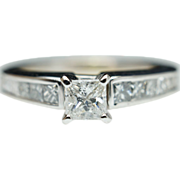 Vintage Princess Cut Diamond Engagement Ring 14k White Gold
