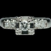 1940's  Vintage Diamond Engagement Ring 14k White Gold