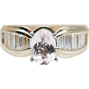 Oval Morganite Engagement Ring with Baguette Diamonds in 14k Yellow Gold