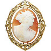 SOLD Antique Victorian Conch Shell Cameo Brooch Pin