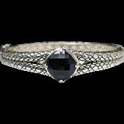 Cushion Onyx Sterling Silver Bangle Bracelet - Snake Skin Bracelet - Vintage Style Bangle - On