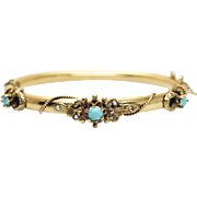 Antique Turquoise Yellow Gold Bangle Bracelet