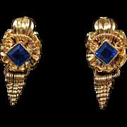 Vintage Beautiful 19k Yellow Gold Vivid Blue Glass Dangle Earrings