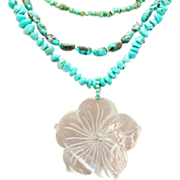 Vintage Freeform Turquoise Mother of Pearl Pendant Necklace