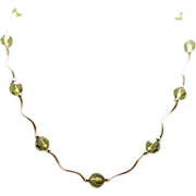 "Vintage Quartz Bead Necklace - 14K Yellow Gold - 16"" length"