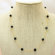 Vintage Lab Created Glass Bead Gold Filled Necklace