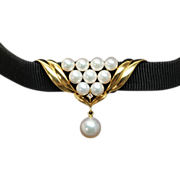 Vintage Pearl & Diamond Chocker Necklace in 18k Yellow Gold