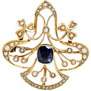 Antique Hand Constructed Sapphire & Pearl Late Victorian Brooch Pendant