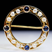 Vintage Sapphire & Cultured Pearl 14k Yellow Gold Pin Brooch