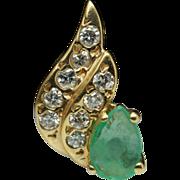 Emerald & Diamond Wing Shape Pendant 14k Yellow Gold