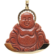 Vintage Goldstone Glass Buddha Pendant with 18k Yellow Gold Accents