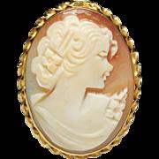 Vintage Natural Shell Cameo Brooch Pin Pendant 14k Yellow Gold
