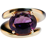 Vintage Amethyst & 14k Yellow Gold Solitaire Ring - Size 4