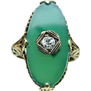 Vintage Antique Late Edwardian Diamond & Green Glass Ring - 14k Yellow Gold Silver