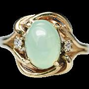 Vintage Lab Created Star Sapphire & Diamond Gold Swirl Ring 14k Yellow Gold