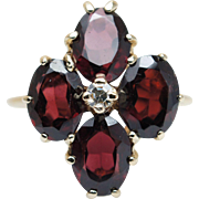 SALE Vintage Diamond & Garnet Flower Cocktail Ring in 14k Yellow Gold Statement Ring Red Gemst