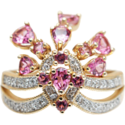 Vintage Rhodolite Pink Garnet & Diamond Crown Cocktail Ring in 14k Yellow Gold