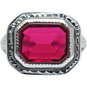 Vintage Art Deco Ruby Statement Cocktail Ring in 14k White Gold