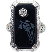 Vintage Art Deco Filigree Onyx & Diamond Statement Ring 10k White Gold