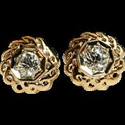 Vintage Diamond Circle Flower Stud Earrings 14k Yellow & White Gold