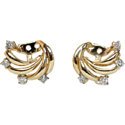 Diamond Vintage 14k Yellow Gold Earring Jacket Earring Enhancers Unique