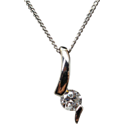 Vintage Estate Platinum Solitaire Diamond Pendant Necklace