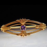 Art Deco Period Amethyst Solitaire Brooch Pin- 14k Yellow Gold