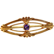 Art Deco Period Amethyst Solitaire Brooch Pin 14k Yellow Gold