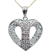 SALE Diamond Split Heart Pendant Necklace 14k White Gold Dainty Heart