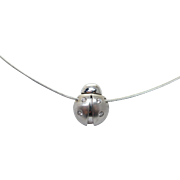 Vintage Ladybug Pendant Necklace in 14k White Gold