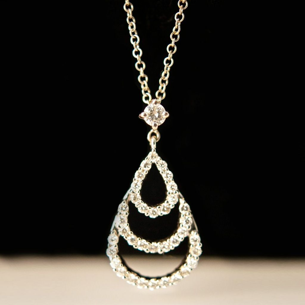 Vintage Chandelier Diamond Pendant - 18k White Gold
