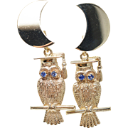 SALE Vintage Graduation Dangle Drop Earrings Moon Owl Animal Jewelry