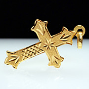 14k Yellow Gold Fleury Cross Pendant