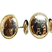 "Antique Mens 10k Yellow Gold Cuff Links - Inscribed "" A J A"""