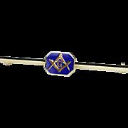 Vintage Enamel Masonic Bar Brooch in 14k Yellow Gold