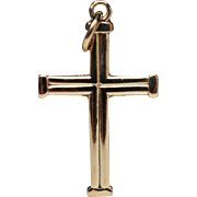 Vintage 14k Gold Cross Pendant Inscribed Jerusalem Christian Jewelry