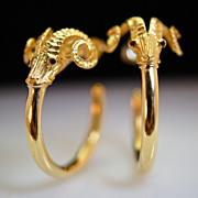 'Aries' Earrings, 18K yellow gold and Ruby Eye Hook Earrings