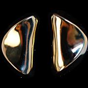 Vintage 18k Yellow Gold Bean Earrings