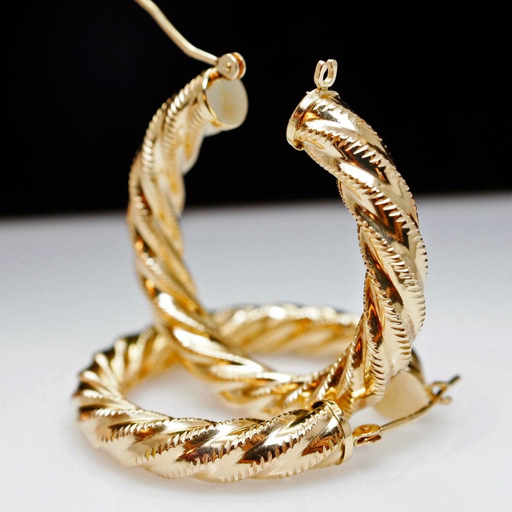 Hollow 14k Yellow Gold Twist Hoop Earrings