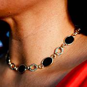 Vintage Onyx Gold Filled Necklace