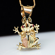 14k Yellow Gold & Ruby Front Pendant Gold Chain Necklace