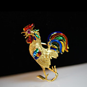 Vintage Ruby & Enamel 18k Yellow Gold Rooster Brooch Pin